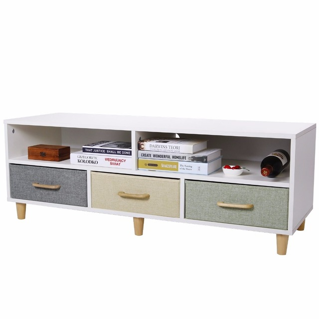 Lifewit Wood TV Stand Contemporary Entertainment Center Cabinet With 3  Drawers And 2 Shelves, White
