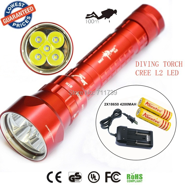 SY-068 Diver 100m waterproof 5xCREE XML L2 led diving flashlight 8000LM torch magnetic switch lanterna with 2x18650+charger 5x xml l2 12000lm led waterproof diving flashlight magswitch diving torch lantern led flash light 2x18650 battery charger