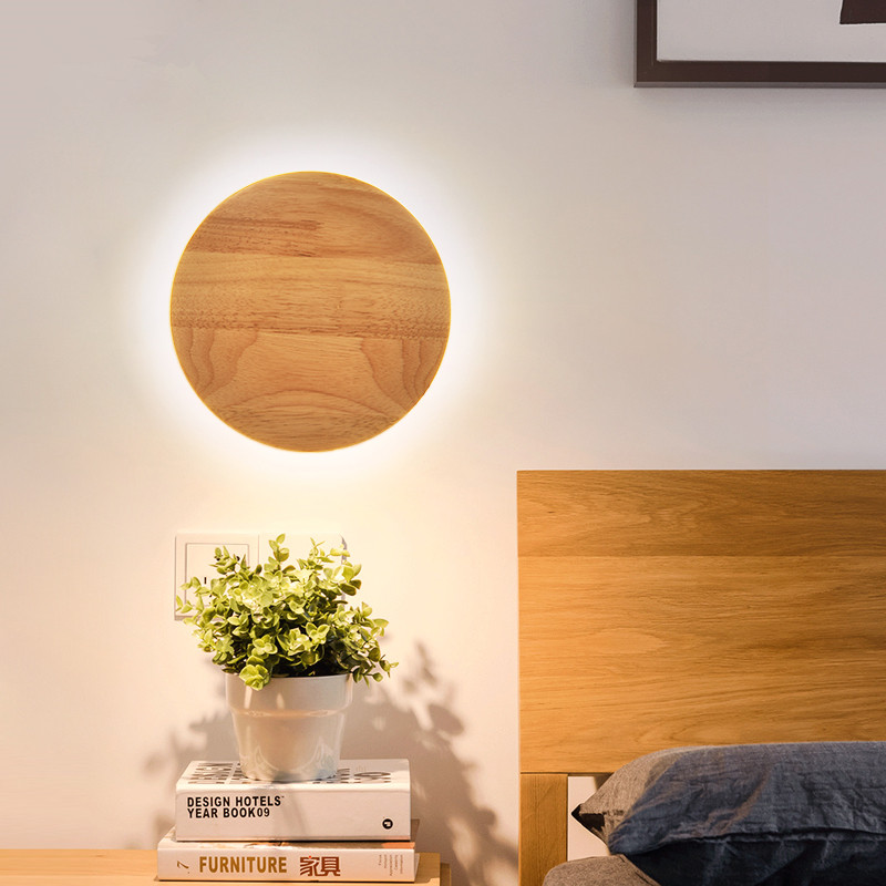 wandlamp LED wall light fixtures Bedside Bedroom Wood Deco lighting Northern Modern Aisle Corridor hanging lamp sunshine forest wall hanging bedroom tapestry