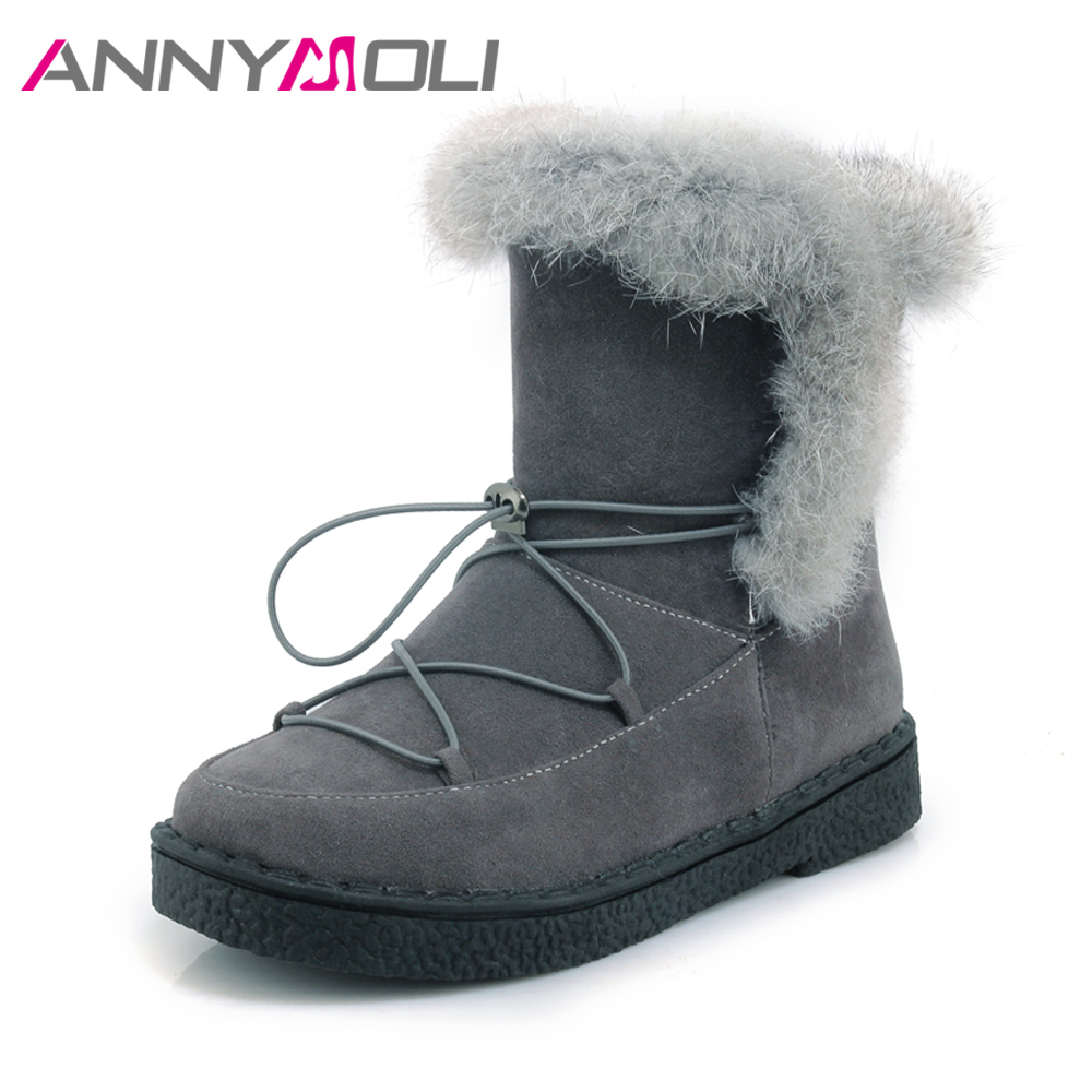 ANNYMOLI Women Snow Boots Winter Real Rabbit Fur Boots Platform Flats Ankle Boots Warm Plush Flat Shoes Female Big Size 44 45