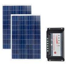 Panel Solar 12v 100W 2Pcs Solar Module 200W Solar Charge Controller 12V/24v Auto 20A Camera Boat Lighting Caravan Motorhome