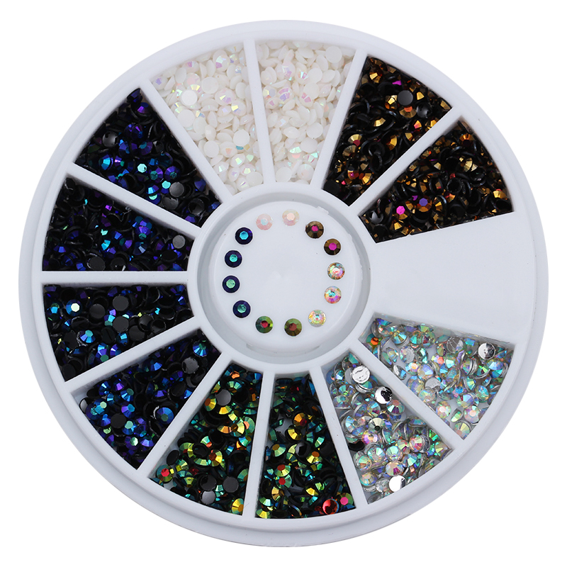 1 Box 2mm AB Crystal Nail Rhinestones Flat Bottom Round 3D Decor 5 Colors Manicure Nail Art Decorations In Wheel kid s box 2ed 5 ab online resources