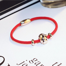 2019 New Red Rope Pig Bracelet For Woman Style Rose Gold Color Piglet Zinc Alloy Mascot Female Fringed Copper