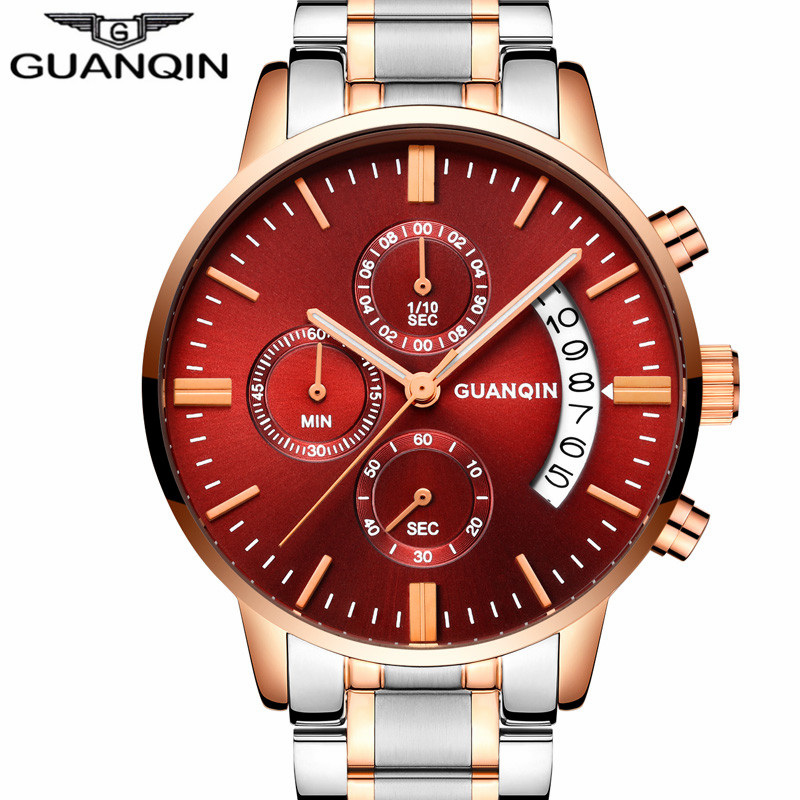 relogio masculino GUANQIN Mens Watches Top Brand Luxury Quartz Watch Men Business Casual Stainless Steel Waterproof Wristwatch runail гель лак хочу ванильный коктейль 3060