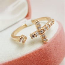 2017 New Gold Love Heart Engagement Ring Jewelry Cross Openning Rhinestone Adjustable Rings for Women Anillos Bague Mujer Femme(China)
