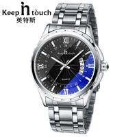 Top Luxury Brand Watch Men Calendar Water Resistant Noctilucent Stainless Steel Wristwatch Aquamarine Relogio Masculino