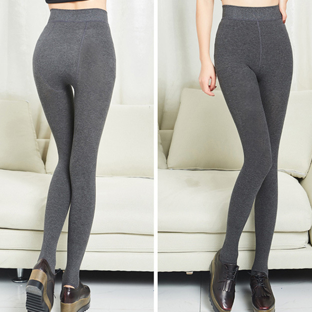 e878741ebefc6 Winter Trousers Women Push Up Solid High-waist Cotton Leggings Fleece Pants  Thick Warm Trample Feet Stretch Casual Plus Size