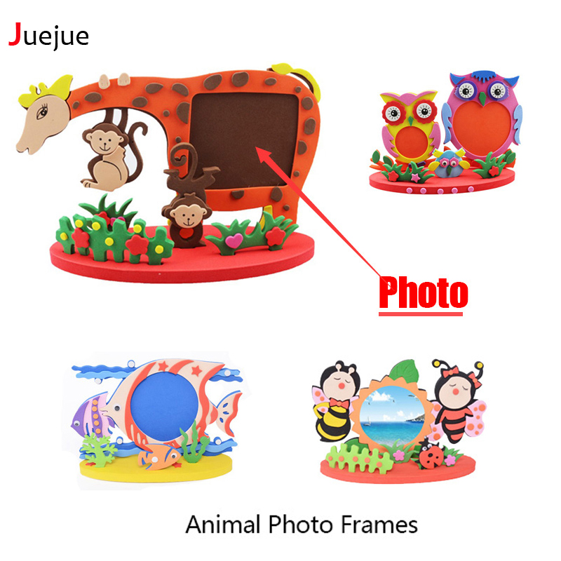 Frame Foam Craft Kit Easy Hantverk EVA Sticky Sticker Animal Photo Frames Barn Barn Creative Activity DIY Leksaker