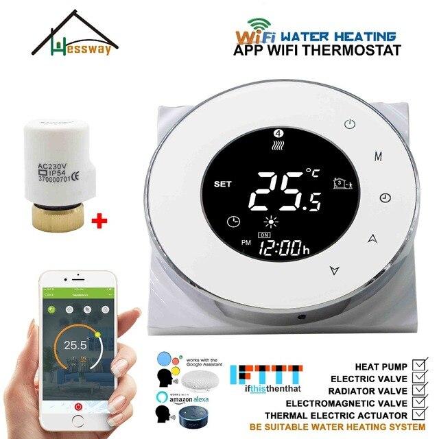 Actuador eléctrico EU 3A, válvula de radiador, calefacción por suelo de agua NO/NC termostatos WIFI para trabajos con Alexa Google home