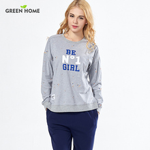 Green Home Natural Color  Letters Pattern Long Sleeve Round-Neckline With Opening Design Nursing Pajamas Suit Set for Woman