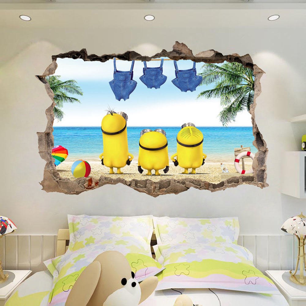 popular wall murals kids rooms buy cheap wall murals kids rooms removable cute minions wall stickers kids room self adhesive nursery wall decal home decor wallpaper living