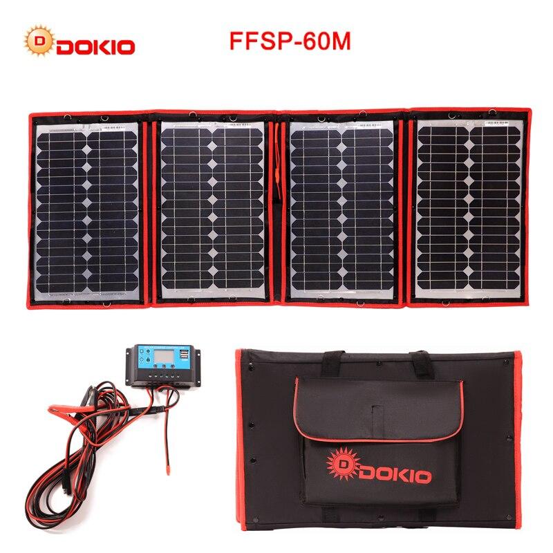 Dokio 60 w (15 w x 4 pc) 18 v Noir Solaire Panneaux seulement Chine Pliable + 12/24 v Volt Contrôleur 60 Watt Panneaux Solaire panneau charge de la batterie