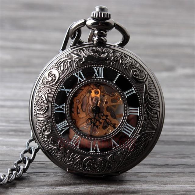 خمر أسود ساعة جيب الميكانيكية رجالي كلاسيكي أنيق الجوف الهيكل العظمي اليد الرياح الرجعية الذكور ساعة قلادة فوب سلسلة الساعات