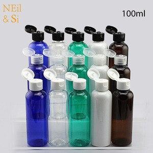 Image 1 - 100ml krem z tworzywa sztucznego butelka wielokrotnego napełniania Essence Lotion wieczko na zatrzask puste butelki niebieski zielony biały brązowy pojemnik