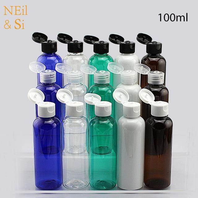100ml krem z tworzywa sztucznego butelka wielokrotnego napełniania Essence Lotion wieczko na zatrzask puste butelki niebieski zielony biały brązowy pojemnik