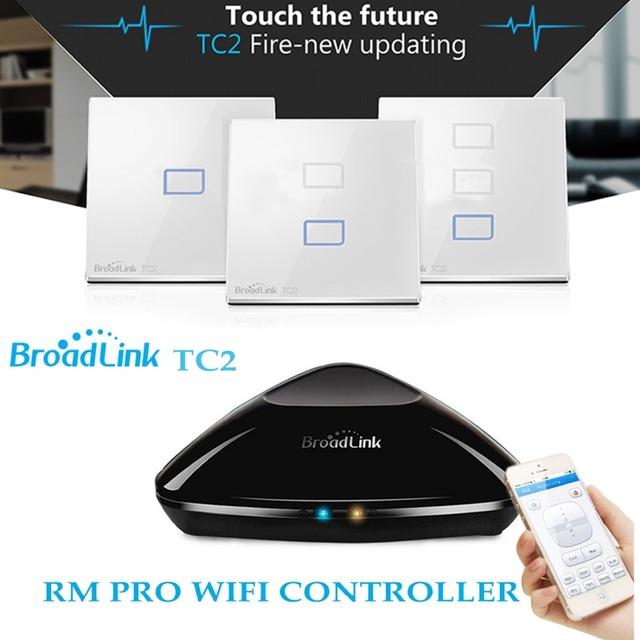 Broadlink rm2 rm pro + tc2 táctil interruptor de pared de luz 1/2/3 pandilla uk std casa inteligente automatización universal wifi control remoto + ir + rf