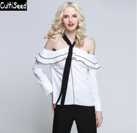 2017 Newest Women Sexy Hanging Bow Slash Neck Off the Shoulder Ruffles Loose Party Shirt Blouse Tops