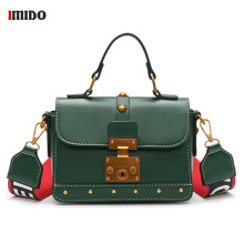 все цены на Women Vintage Leather Handbag Small Rivet Flap Shoulder Bag Colorful Wide Strap Crossbody Bag for Girl Green Brown Black Satchel онлайн