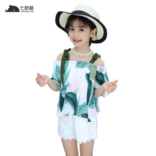 girls summer clothes set 2019 off shoulder top+ white shorts fashion new arrival 6 8 10 12 beach dress sets