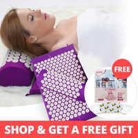 Kongdy acupuntura esteira e travesseiro acupuntura almofada acupuntura massagem aliviar dor nas costas dor de cabeça ajuda a dormir