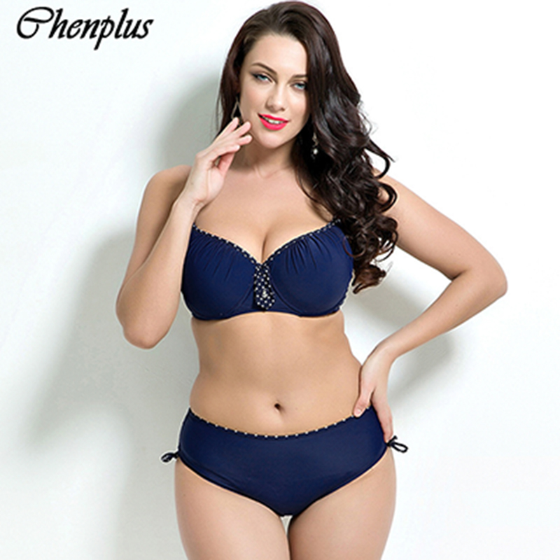 Chenplus women sexy push up plus size bikini set retro bathing suit maillot de bain swimsuit swimwear 2016 sexy plunging neck push up plus size solid color bathing suit for women