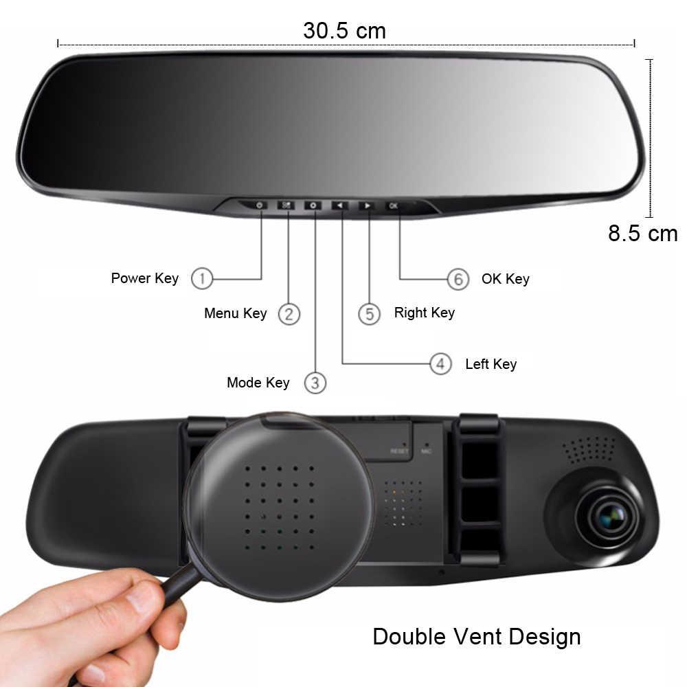 Dvr carro câmera de lente dupla completa hd 1080 p 4.3 polegada gravador vídeo espelho retrovisor com vista traseira dvr traço cam registrador automático