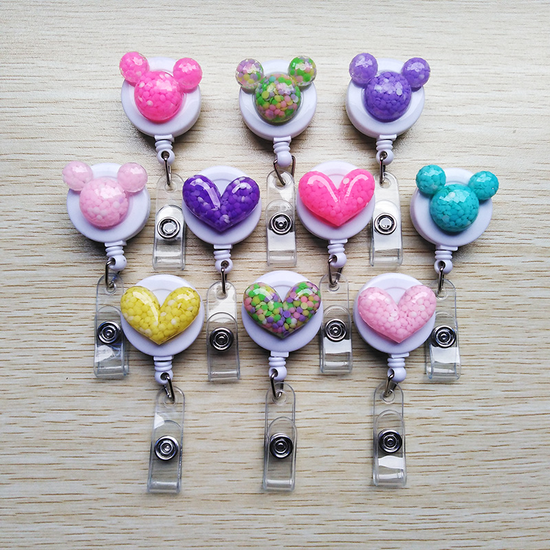 10 Pcs/lot Lovely Resin Multicolor Cartoon Badge Reel Bus Card Student Nurse ID Name Card Badge Holder New Office Supplies