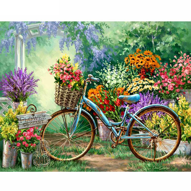 diamond embroidery garden bike handmade mosaic diy diamond painting cross stitch pattern square drill home decor - Embroidery Garden