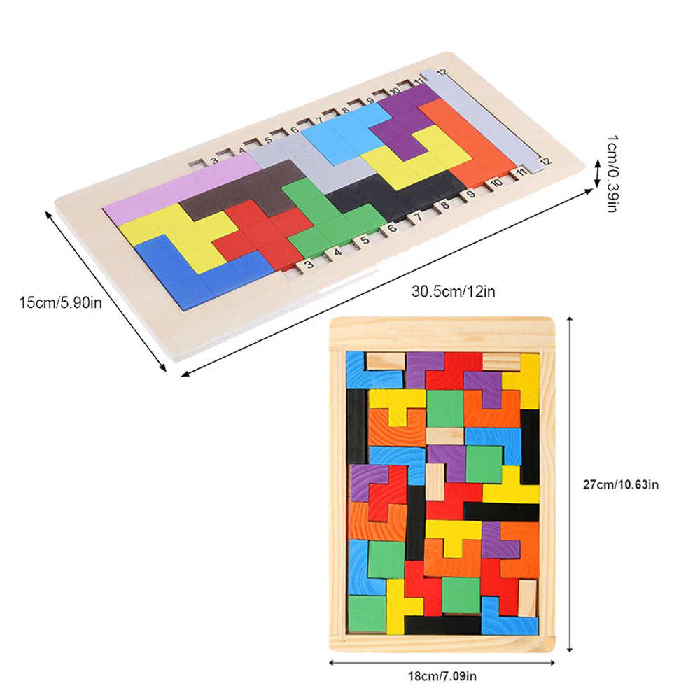Kids wooden durable colorful Tetris Game Blocks Katamino jigsaw toy  Children Table Game for Kid Child Learning Intelligent Toys