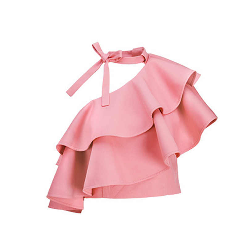 TWOTWINSTYLE рубашка с оборками Женская кружевная с бантом и открытыми плечами Лоскутная розовая короткая блузка Топы 2019 летняя модная Милая одежда