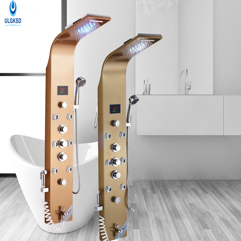 Ulgksd Waterfall Rainfall Shower Faucet Set With 6Pcs Massage Shower Jets Shower Panel Tub Filler With Hand Shower