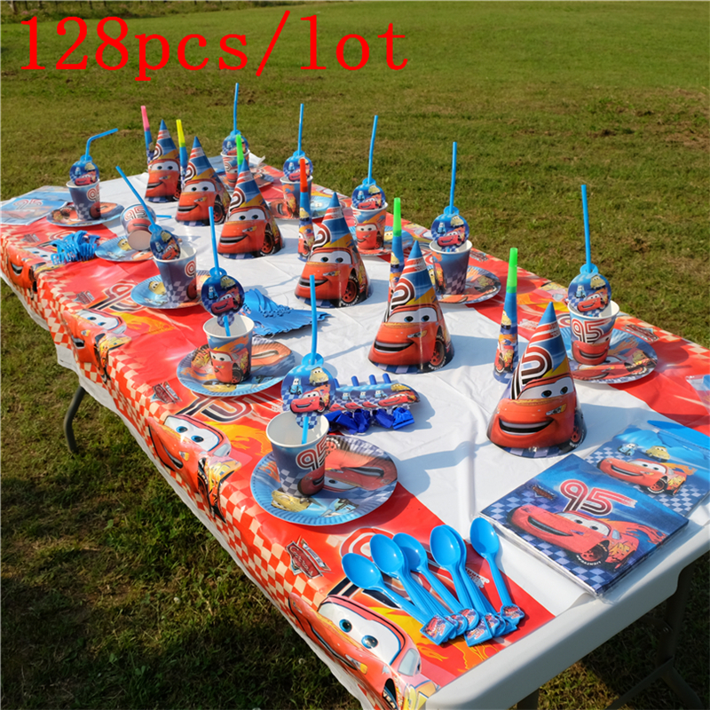 128Pcs/Lot Disney Lightning McQueen Theme Design Cups+Plates Birthday Party Decoration Disposable Tableware For Party Supplies