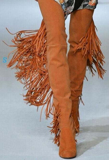 Fashion Orange Suede Leather Women Over The Knee Boots Sexy Fringe Back Ladies Chunky Heel Boots Point Toe Female Knight Boots 2018 new suede leather patchwork women flodover mid calf boots sexy pointy toe ladies blade heel boots zipper knight boots