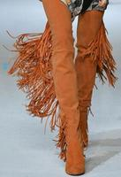 Fashion Orange Suede Leather Women Over The Knee Boots Sexy Fringe Back Ladies Chunky Heel Boots Point Toe Female Knight Boots