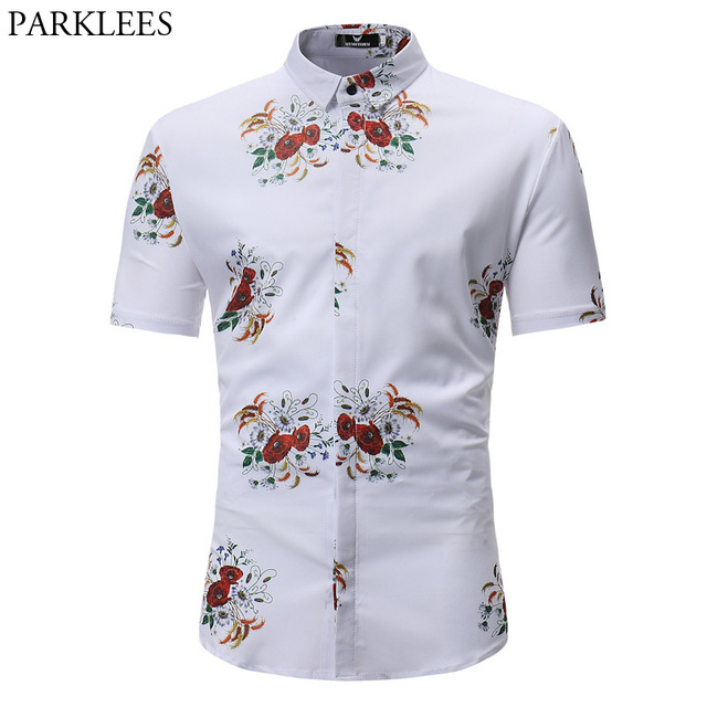 9e43cec03f4 Red Flower Shirt Men 2018 Short Sleeve Cover Button Mens Hawaiian Shirts  Casual Slim Fit Dress Shirts Chemise Homme Camiasa 3XL