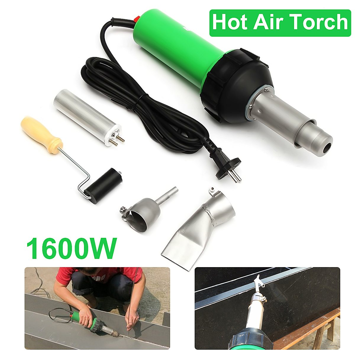 High Quality 1600W 50Hz Electronic Heat Hot Air Torch Plastic Welding Welder Torch + Nozzle + Pressure Roller 3000Pa Tool Set 2017 high quality taiwan bao ss 621h digital adjustable warm air gun electric blower proskit plastic welding torch free shipping