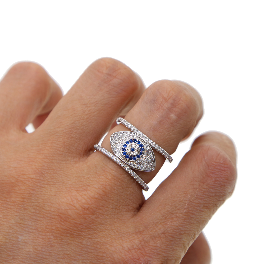 Brown Stone Evil Eye CZ Ring