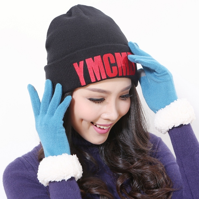 1a63cfb1060 Free Shipping Men Women Black Beanie Caps With Red Letter Knitted hat  Autumn Winter For