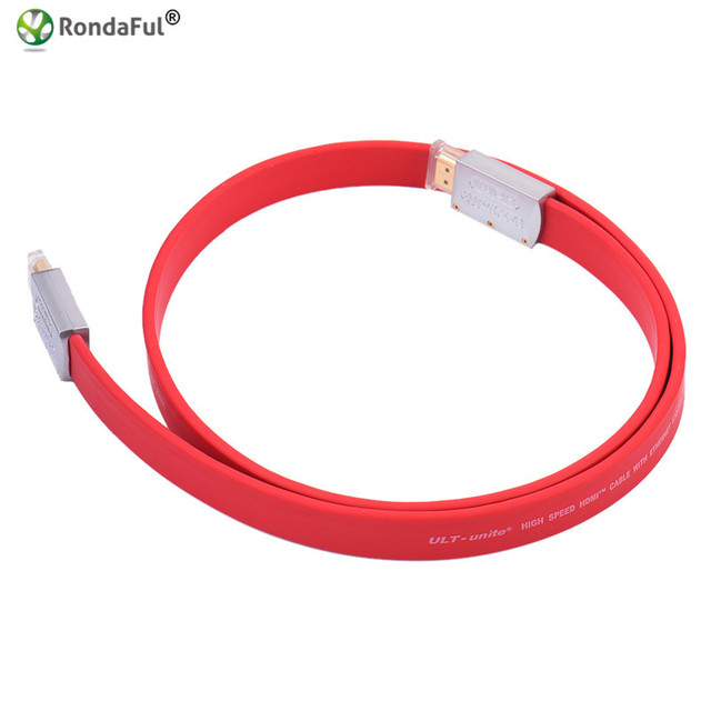 New High-speed ULT-unite HDMI 2.0 version 19 +1 standard tin-plated copper metal case 4K TV flat line hdmi HD line red color