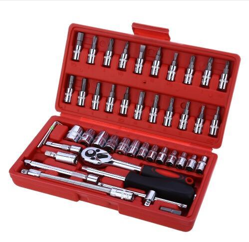 46pcs Ratchet Torque Wrench Ferramentas Auto Repair Tool Socket Set Ferramenta Combination Bit Screwdriver Hand Tool