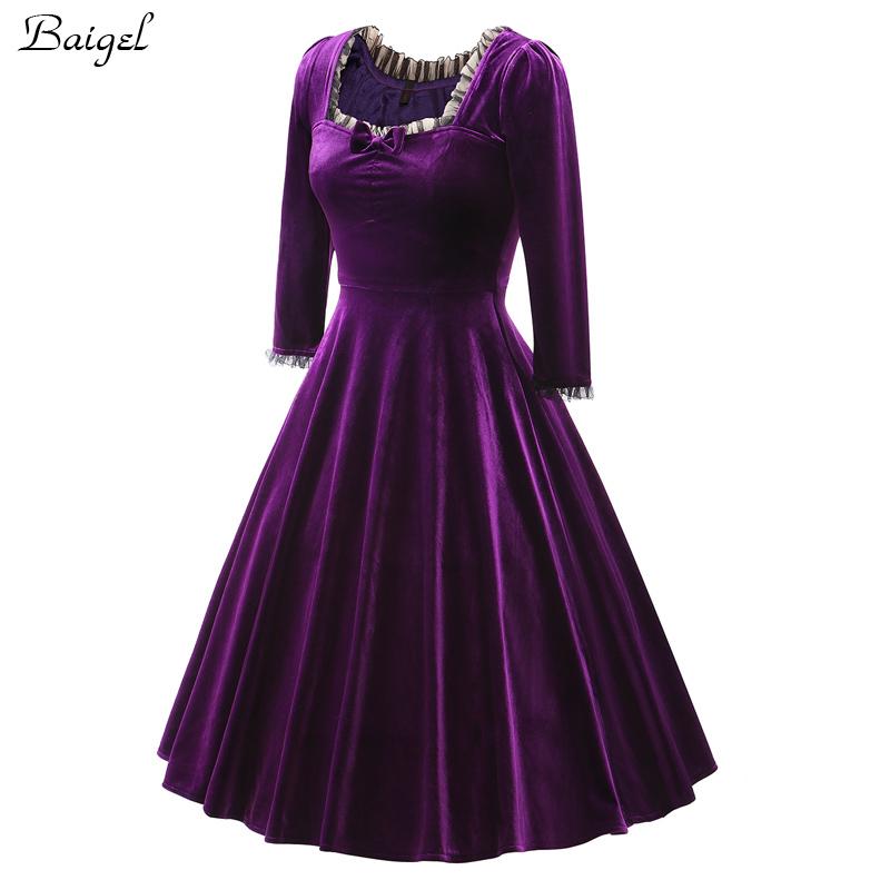 Womens Winter Long Sleeve Velvet Dress Black Red Purple Vintage 40s 1950s 60s Style Rockabilly Swing Party Dresses Plus Size 3XL (2)