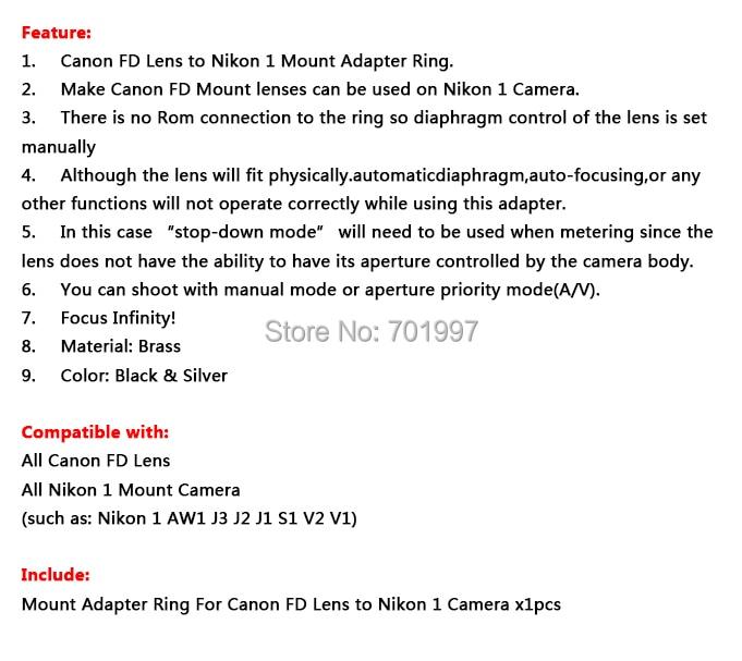 Переходное кольцо Pixco для объектива Canon FD объектив для Nikon 1 крепление для камеры переходное кольцо для J1 V1 без штатива