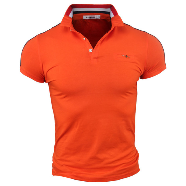 f51507c11f6d7 2017 Summer Tees Men Polo Shirts Solid Color Casual Short Sleeve Fashion  Slim Fit White Orange Black Plus Tee Mens Tops Business
