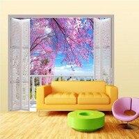 Beibehang Papier Peint 3D Stéréo Grand Murales Balcon à l'extérieur fenêtre romantique cerise canapé lit chambre flash argent tissu papier peint