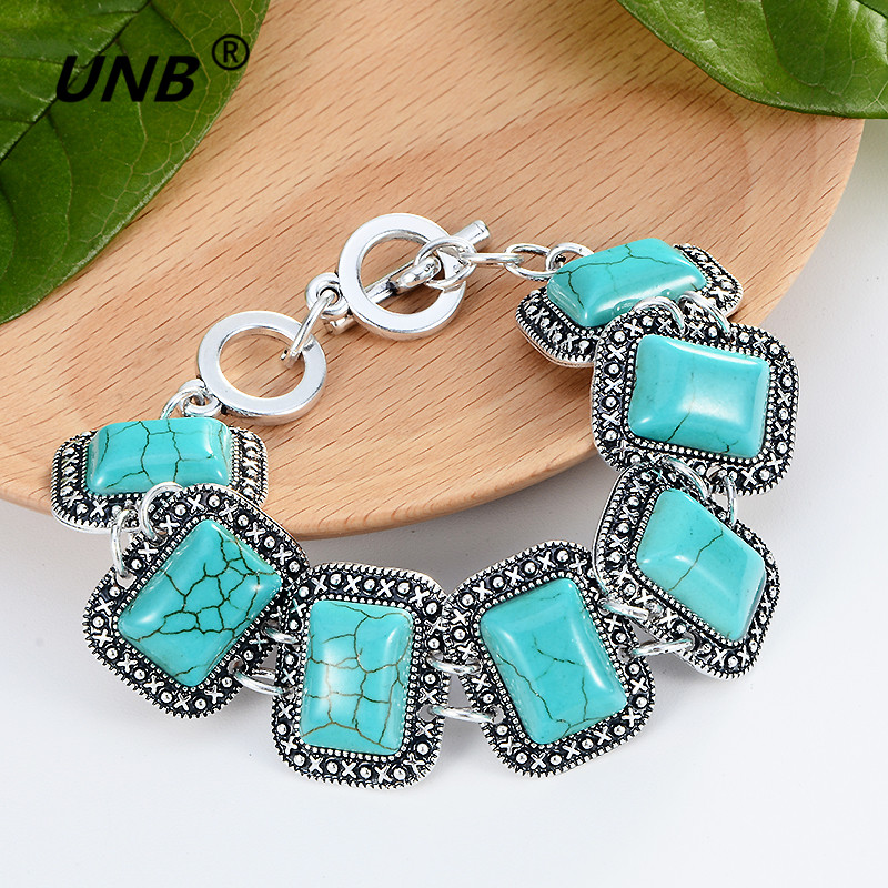 Free Shipping Hot Jewelry Tibetan Silver Bracelets Green Stone Inlay Roundness Bead Adjust Bangle accessoires homme for women