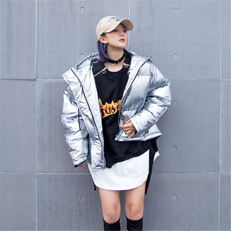 Veste Bas Parkas Vers Brillant Hip vent Hop Coton Femme Hiver Silver Argent Coupe 2018 Manteau Tendance Mode Chaud Nouvelle L312 Pu Le 6xzCc0q