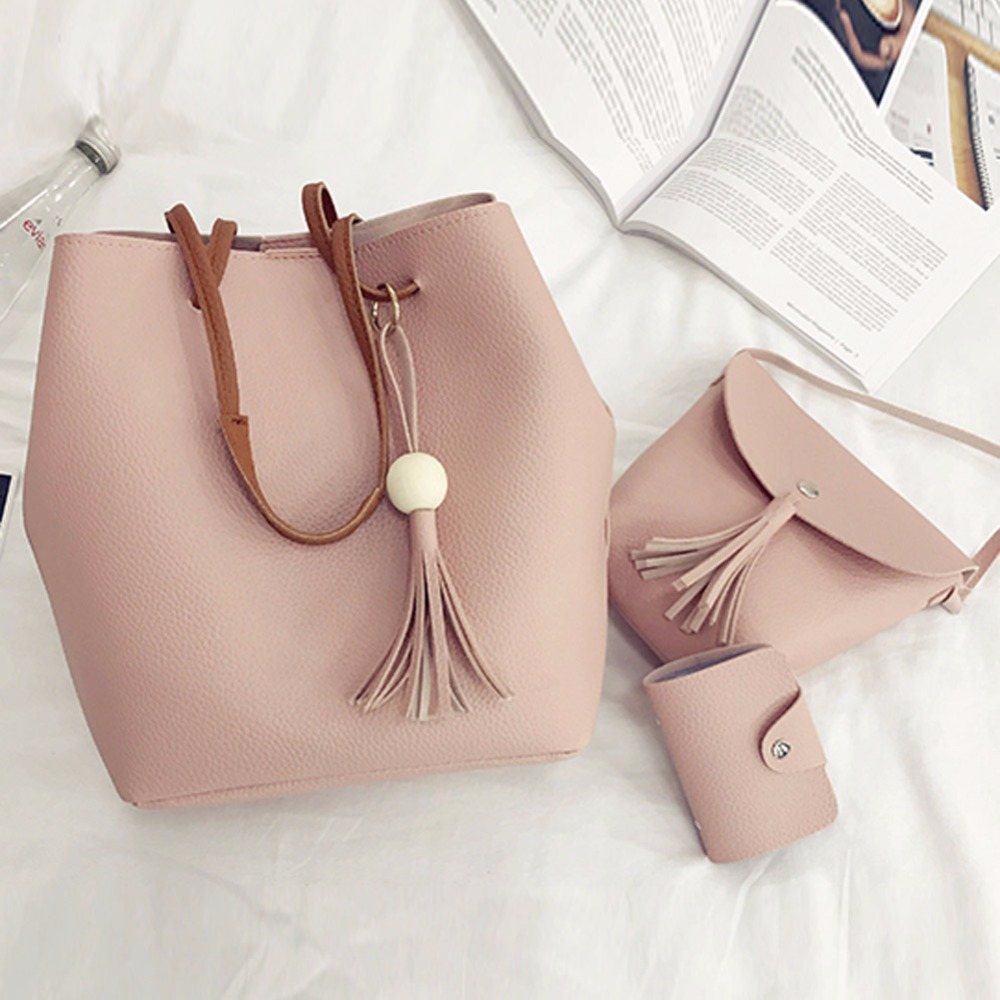 4pcs/Set Fashion Women Bag Tassel Pure PU Leather Composite  Bag Women Clutch Handbag Set Large Shoulder Bag Tote bolsa feminina 1