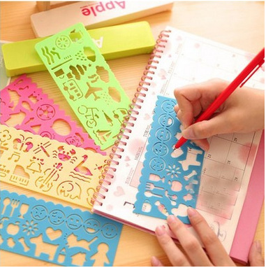 4pcs/1 Lot Korea Stationery Candy Color Ruler Oppssed Drawing Template Office Painting Supplies