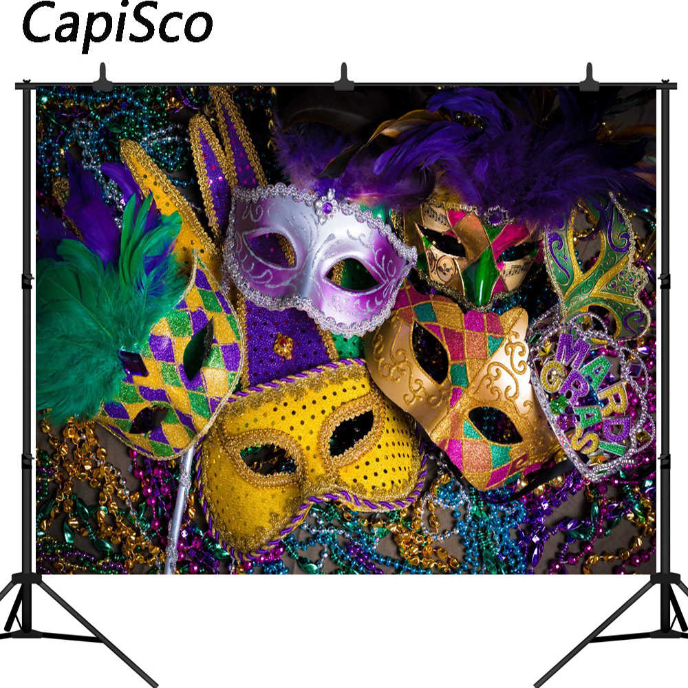 Capisco Carnival Mardi Gras Colorful Mask Poster Masquerade Seamless Vinyl Photography Backdrop Photo Background Studio Props