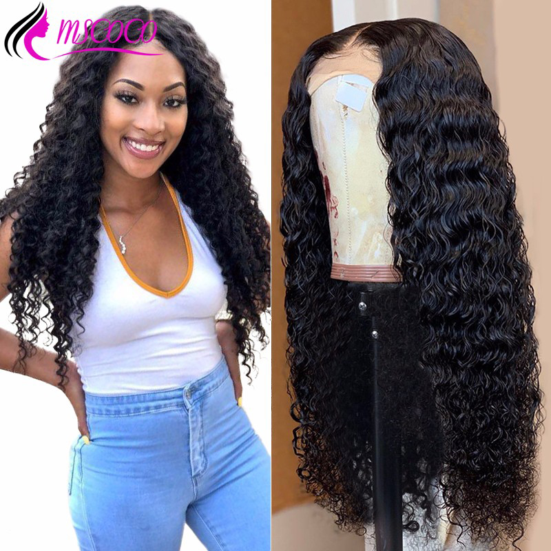 Mscoco Deep Wave Wig Lace Front Human Hair Wigs Pre Plucked  360 Lace Frontal Wig 150 180 250 Density Deep Curly Human Hair Wig